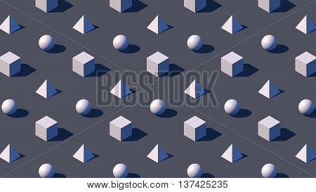 isometric geometry background with 3d rendered primitives and hard shadow