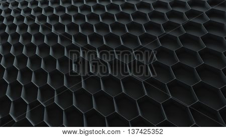 abstract 3d rendering background with repeating sixgon pattern