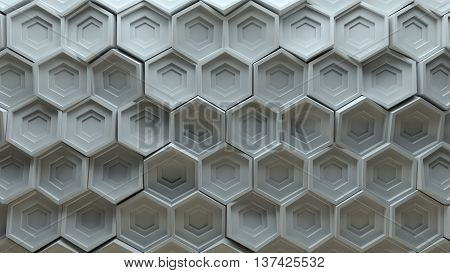 3d rendering background platte made of randomly rotated sixgon pattern elements