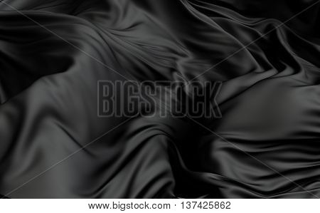 3d rendered cloth surface abstract background with deformed plane shape with folds and waves