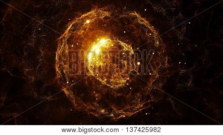 3d rendering abstract particles background with sphere shapes that have been heavily deformed by noise displacement force