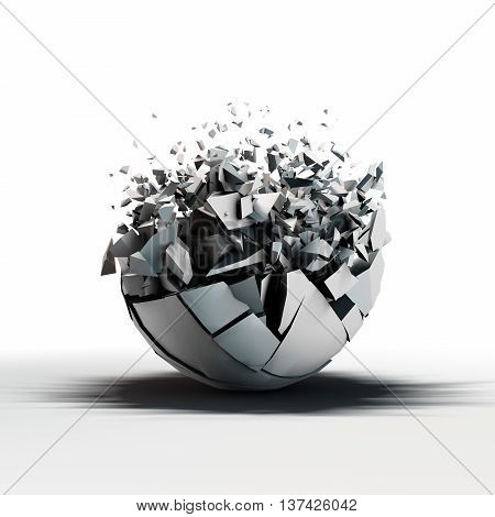 3d rendering broken sphere standing on reflective floor with a lot of fracture elements that flow outward from it