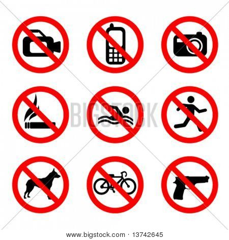 prohibit sign vector