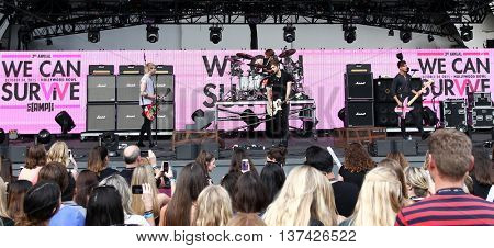 HOLLYWOOD, CA-OCT 24: 5 Seconds of Summer perform for fans before CBS RADIOs third annual We Can Survive, presented by Chrysler, at the Hollywood Bowl on October 24, 2015 in Hollywood, California.