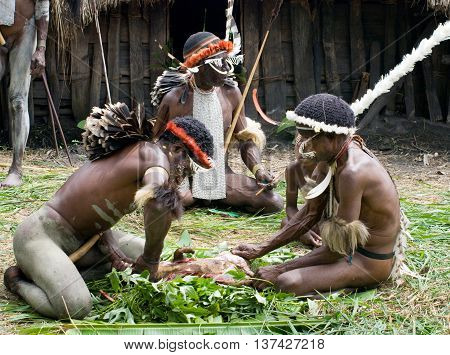 Warriors Of A Papuan Tribe In Traditional Clothes And Coloring