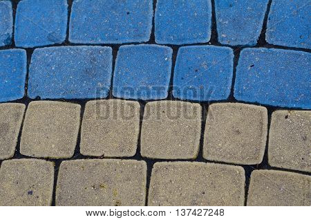 Cobblestone Texture, Geometry, Yellow And Blue Colors