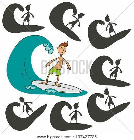 Cartoon surfer.Find the right shadow image. Educational games for kids.Vector stock illustration