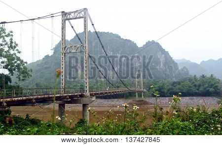 THANH HOA, Vietnam, March 24, 2016 cable-stayed bridge, spanning the River Yen, Thanh Hoa, Vietnam