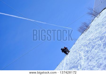 Climbing On Snowy Mountain