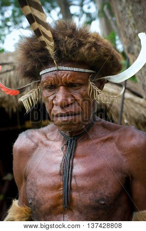 Warrior Of A Papuan Tribe In Traditional Clothes