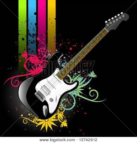 floral grunge guitar vector