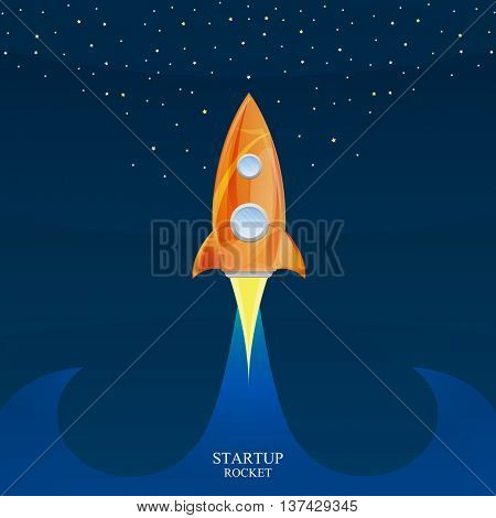 Space rocket launch, Creative idea. Vector illustration for startup