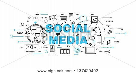 Modern flat thin line design vector illustration, concept of social media, social networking, web communtity and posting news for graphic and web design