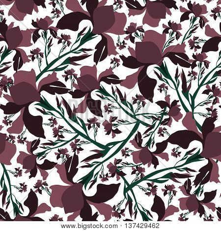 Floral seamless patter with iris flowers.Colorful vector print.Textile texture