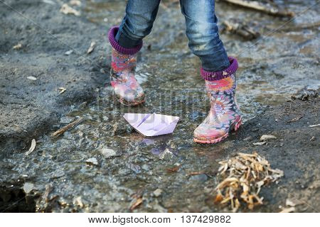 Beautiful Gumboots In A Puddle