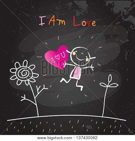 Positive affirmations for kids, motivational, inspirational concept vector illustration. I am loving text; typography. Chalk sketch on blackboard hand drawn doodle, scribble.