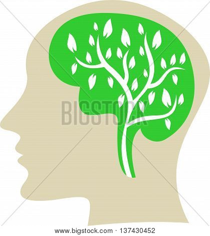 stock logo people with green tree on brain