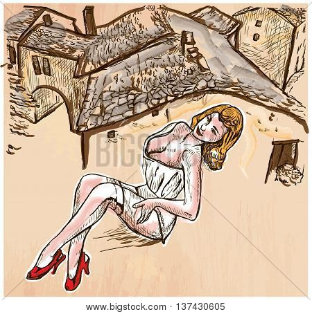 An hand drawn vector - SUMMER FASHION. An pin up sexy young woman posing in front of old roofs - colored line art. Vector is editable in groups and layers - freehand sketching.