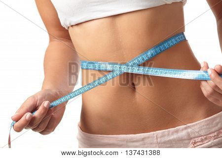 Healthy lifestyles concept. Weight loss in white background