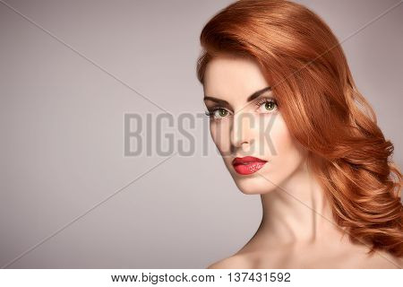 Fashion Natural Makeup. Beauty portrait nude woman. Redhead Model sexy girl, Hairstyle, Makeup. Shiny wavy hair, long Eyelashes, Perfect skin. Skincare Spa concept. Creative unusual look. Face closeup