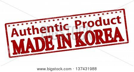 Rubber stamp with text authentic product made in Korea inside vector illustration