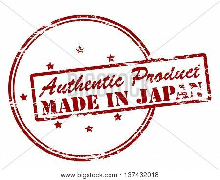 Rubber stamp with text authentic product made in Japan inside vector illustration