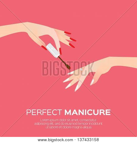 Nail art and elegant women's hand. Salon cosmetic concept. Beauty product. Nail health banner. Nail design polish manicure tools. Vector illustration on blue background