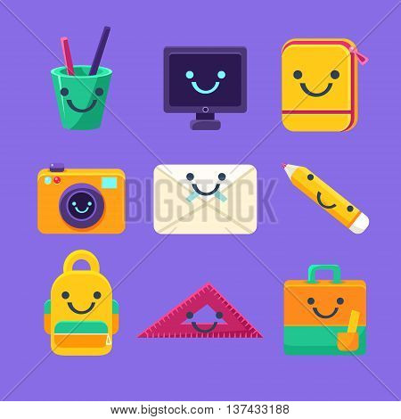 Office Desk Supplies Collection Of Characters In Primitive Childish Cartoon Flat Vector Design Isolated On Blue Background