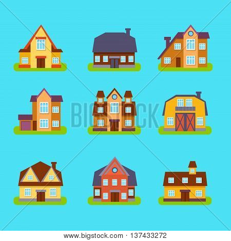 Suburban Real Estate Houses Set In Simple Realistic Cartoon Flat Vector Design Isolated On Blue Background