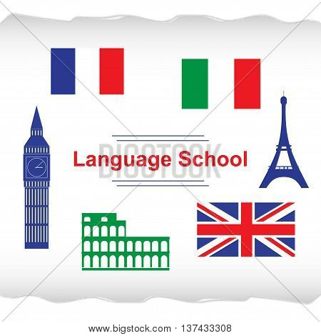 Language school poster, banner with flags and icons of Italy, France, England. Vector illustration