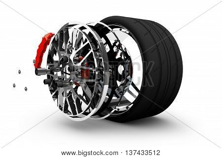 Concept of tire service. Wheels Rims brake pads and discs. CAR PARTS. Isolated on white background High resolution 3d render.
