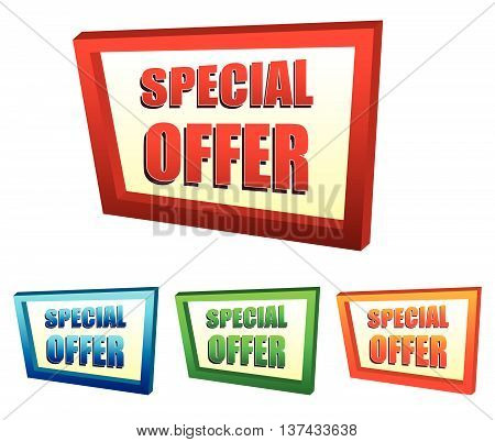 special offer in 3d banners in four colors, business shopping concept, vector