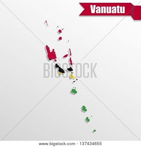 Vanuatu map with flag inside and ribbon
