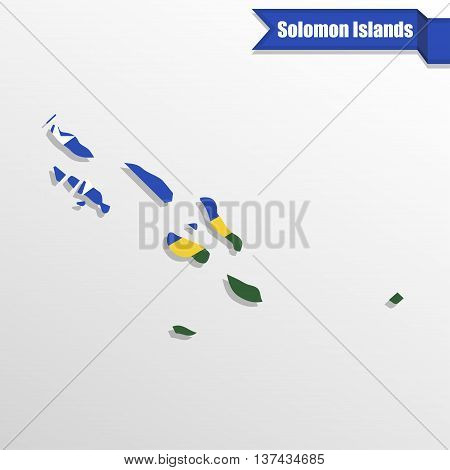 Solomon Islands map with flag inside and ribbon