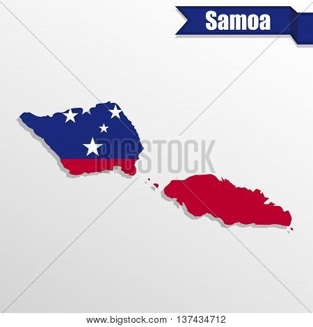 Samoa map with flag inside and ribbon