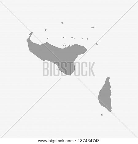 Tonga map in gray on a white background