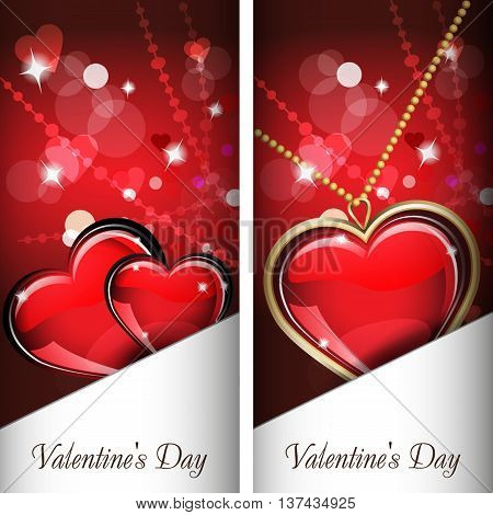 St. Valentine's Day. Two cards with glass red and gold heart on wonderful Background. It has a white pocket. Grouped for easy editing. Perfect for invitations or announcements or restaurant menu.