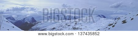 Panorama Of Snow-capped Mountains And Huts