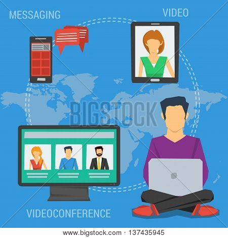 Vector square concept of internet communication webinar online or training education in flat style. Man with laptop sending message make videoconference with others in flat style on world map