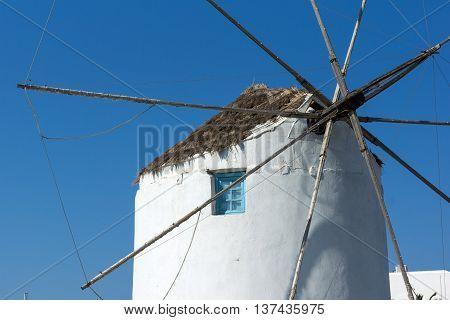 White windmill in Parikia, Paros island, Cyclades, Greece