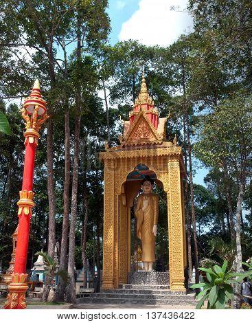 SOC TRANG, VIETNAM, May 24, 2016 ethnic Cham ruins. Temples, statues Ba, Soc Trang Province, Vietnam