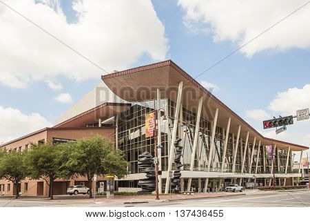 HOUSTON TX USA - APR 14 2016: Exterior of the Hobby Center for the Performing Arts theater in the city of Houston. Texas United States