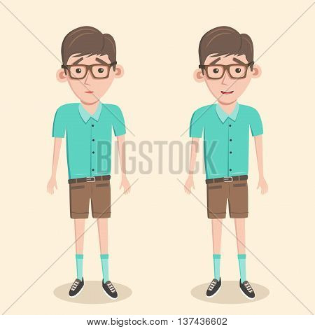 Cartoon illustration of a nerd boy. Schoolboy in glasses