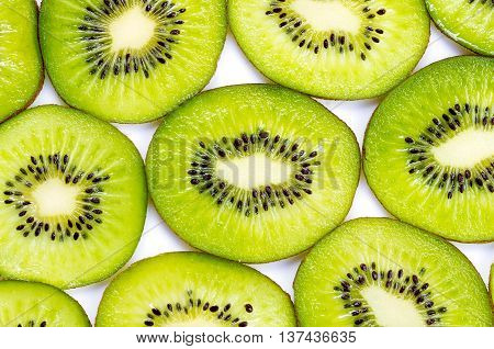 Many Slices Of Kiwi Fruit