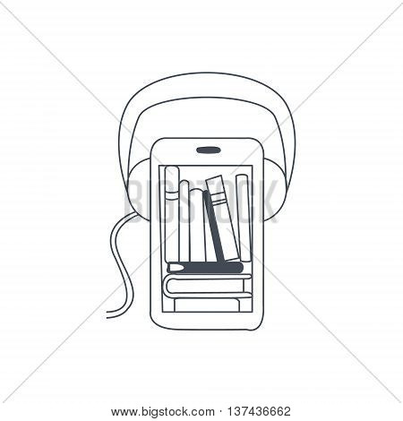 Audio Translation Smartphone App Black And White Hand Drawn Illustration In Simplified Graphic Style On White Background