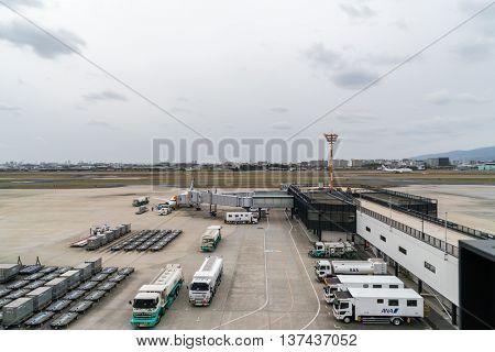 OSAKA, JAPAN - December 6, 2015:  Kansai International airport waiting to board the passengers