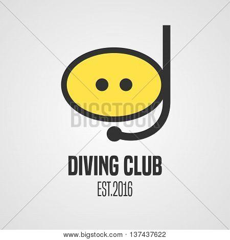 Diving and snorkeling vector logo icon symbol emblem sign design element. Diving mask illustration