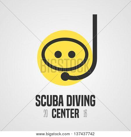 Diving and snorkeling vector logo icon symbol emblem sign design element. Scuba diving tube illustration