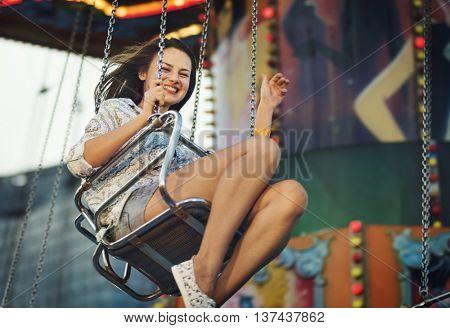 Amusement Park Friends Enjoyment Lifestyle Concept
