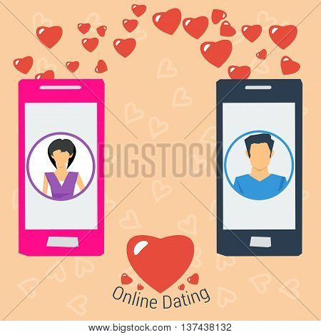 Vector Online Dating Love Concept. Girl and boy use modern technology to develop relations. Line of hearts from one smartphone to another in flat style